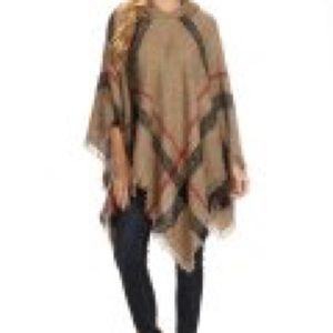 Sweaters - Women's Classic Plaid Turtle Neck Poncho-Biege